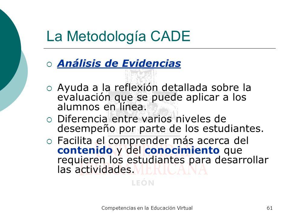 Competencias en la Educación Virtual61 La Metodología CADE Análisis de Evidencias Ayuda a la reflexión detallada sobre la evaluación que se puede apli