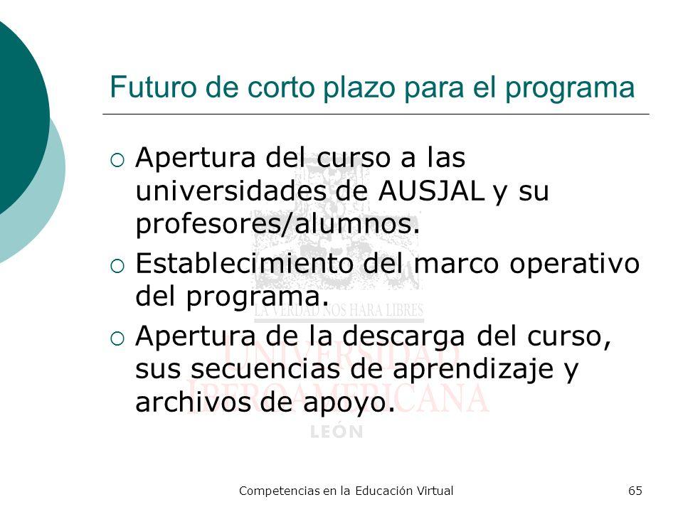 Competencias en la Educación Virtual65 Futuro de corto plazo para el programa Apertura del curso a las universidades de AUSJAL y su profesores/alumnos