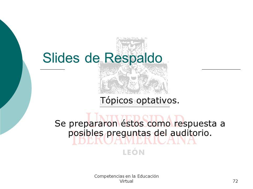 Competencias en la Educación Virtual72 Slides de Respaldo Tópicos optativos. Se prepararon éstos como respuesta a posibles preguntas del auditorio.