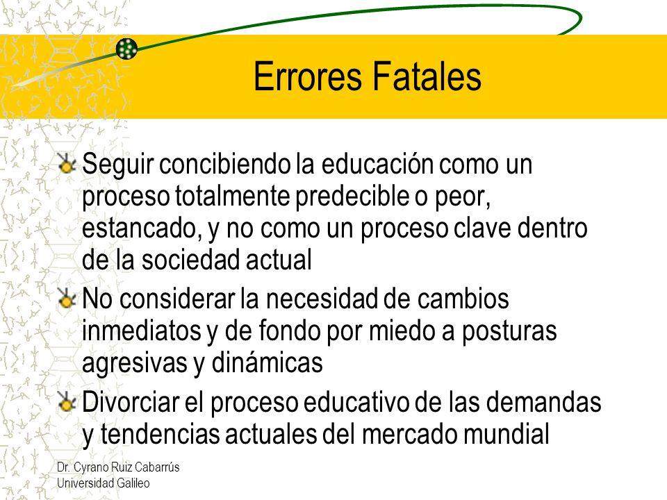 Dr. Cyrano Ruiz Cabarrús Universidad Galileo Errores Fatales Seguir concibiendo la educación como un proceso totalmente predecible o peor, estancado,