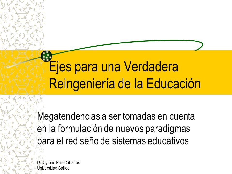 Dr. Cyrano Ruiz Cabarrús Universidad Galileo Ejes para una Verdadera Reingeniería de la Educación Megatendencias a ser tomadas en cuenta en la formula
