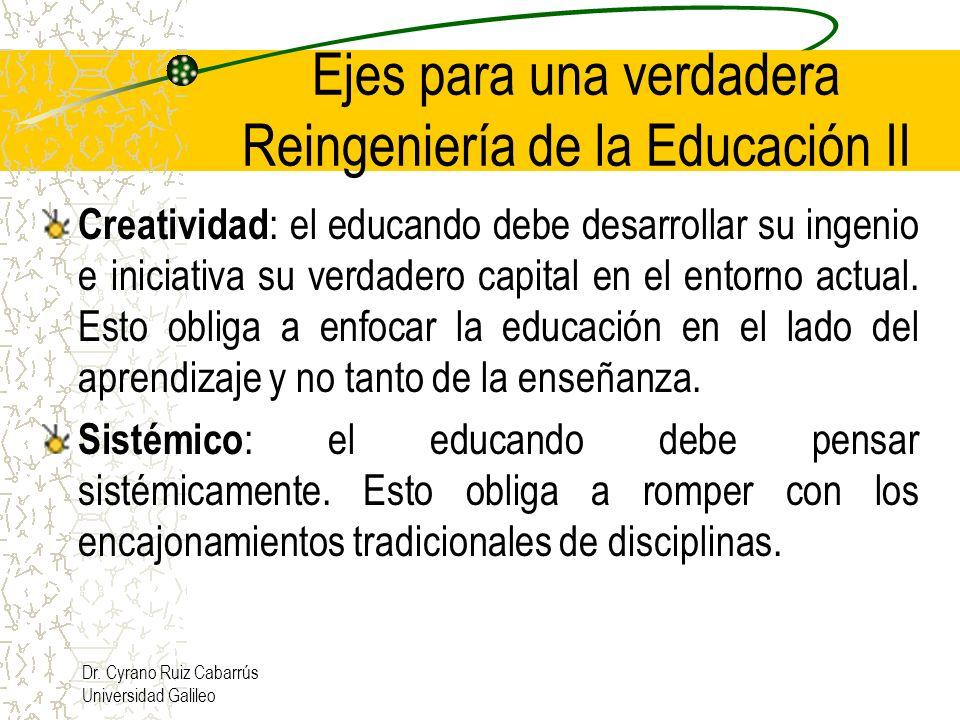 Dr. Cyrano Ruiz Cabarrús Universidad Galileo Ejes para una verdadera Reingeniería de la Educación II Creatividad : el educando debe desarrollar su ing