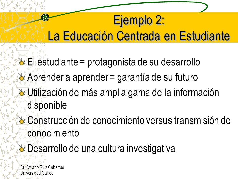 Dr. Cyrano Ruiz Cabarrús Universidad Galileo Ejemplo 2: La Educación Centrada en Estudiante El estudiante = protagonista de su desarrollo Aprender a a