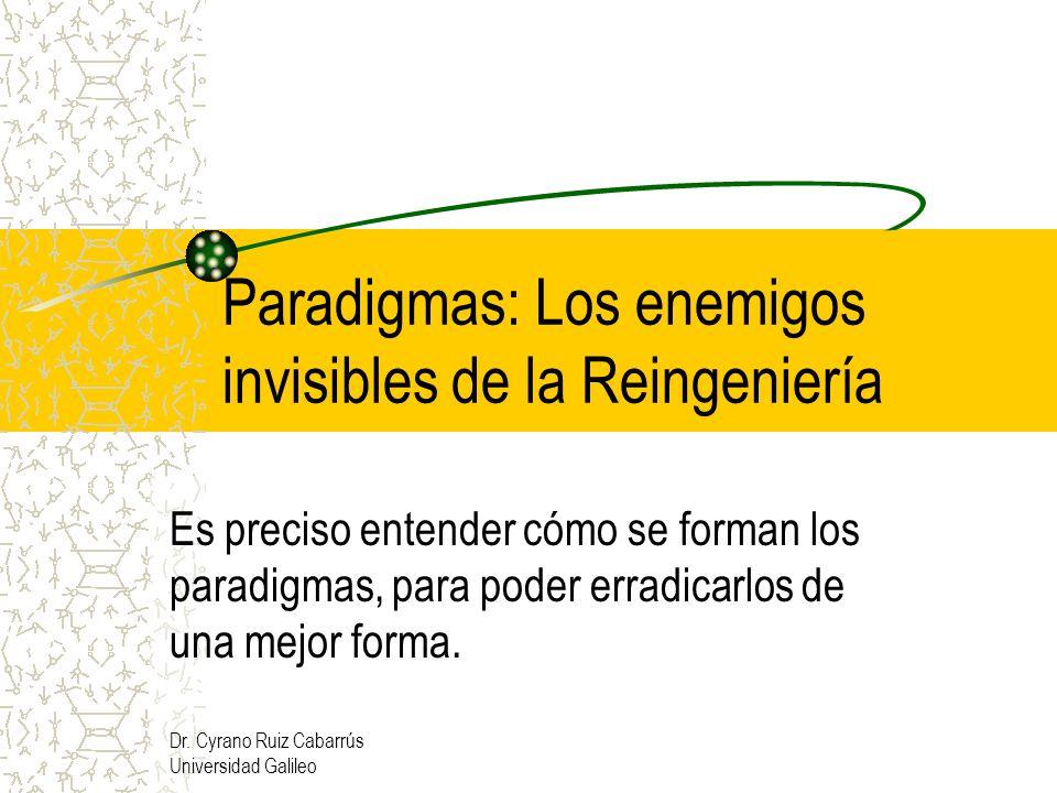 Dr. Cyrano Ruiz Cabarrús Universidad Galileo Paradigmas: Los enemigos invisibles de la Reingeniería Es preciso entender cómo se forman los paradigmas,