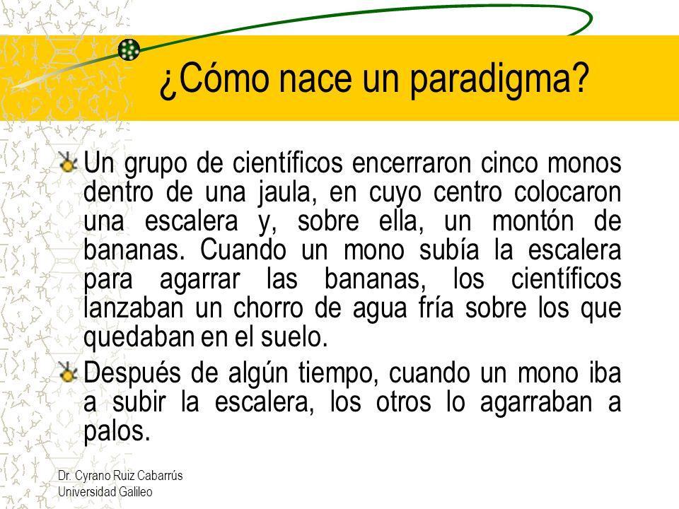 Dr. Cyrano Ruiz Cabarrús Universidad Galileo ¿Cómo nace un paradigma? Un grupo de científicos encerraron cinco monos dentro de una jaula, en cuyo cent