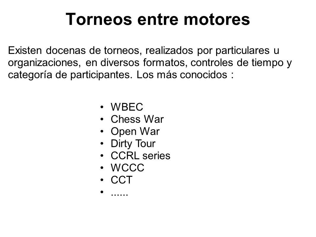 Torneos entre motores Existen docenas de torneos, realizados por particulares u organizaciones, en diversos formatos, controles de tiempo y categoría