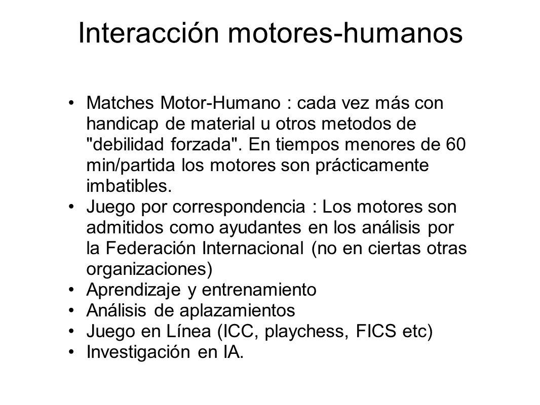 Interacción motores-humanos Matches Motor-Humano : cada vez más con handicap de material u otros metodos de