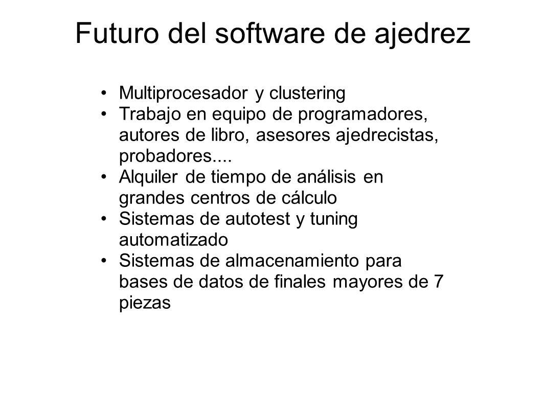 Futuro del software de ajedrez Multiprocesador y clustering Trabajo en equipo de programadores, autores de libro, asesores ajedrecistas, probadores...