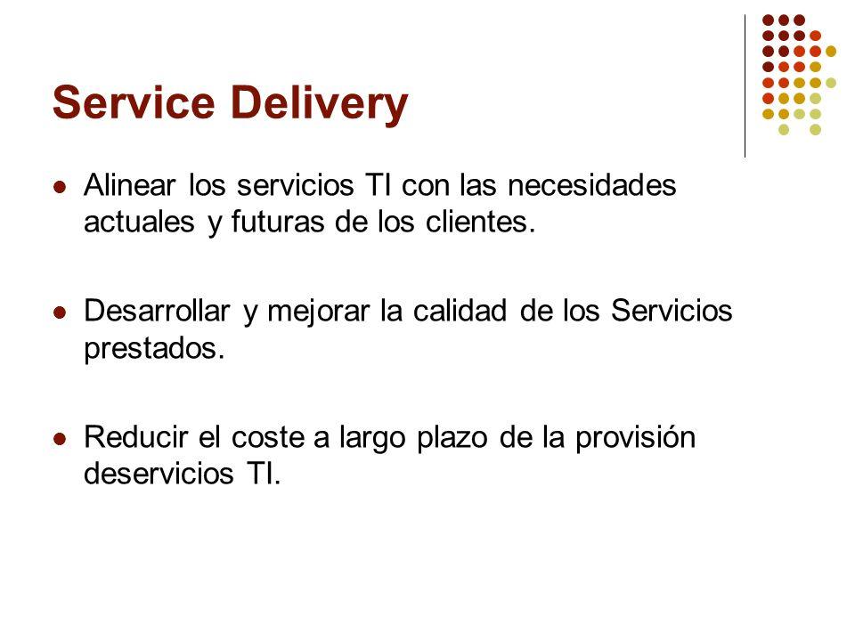 Service Delivery Alinear los servicios TI con las necesidades actuales y futuras de los clientes. Desarrollar y mejorar la calidad de los Servicios pr
