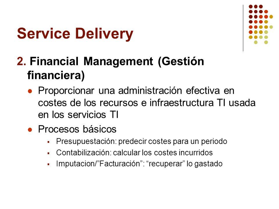 Service Delivery 2. Financial Management (Gestión financiera) Proporcionar una administración efectiva en costes de los recursos e infraestructura TI