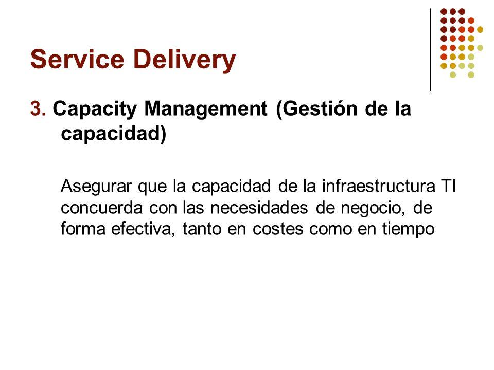 Service Delivery 3. Capacity Management (Gestión de la capacidad) Asegurar que la capacidad de la infraestructura TI concuerda con las necesidades de