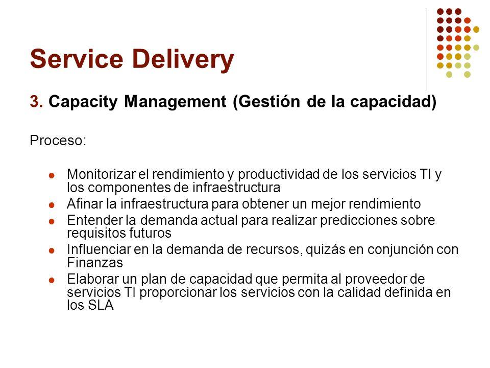 Service Delivery 3. Capacity Management (Gestión de la capacidad) Proceso: Monitorizar el rendimiento y productividad de los servicios TI y los compon