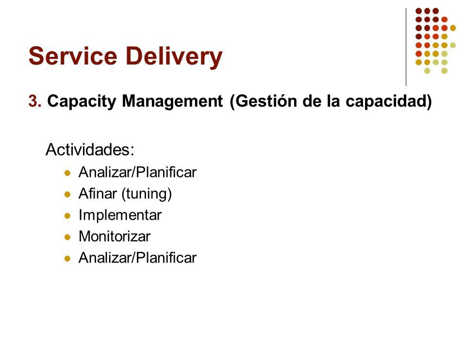 Service Delivery 3. Capacity Management (Gestión de la capacidad) Actividades: Analizar/Planificar Afinar (tuning) Implementar Monitorizar Analizar/Pl