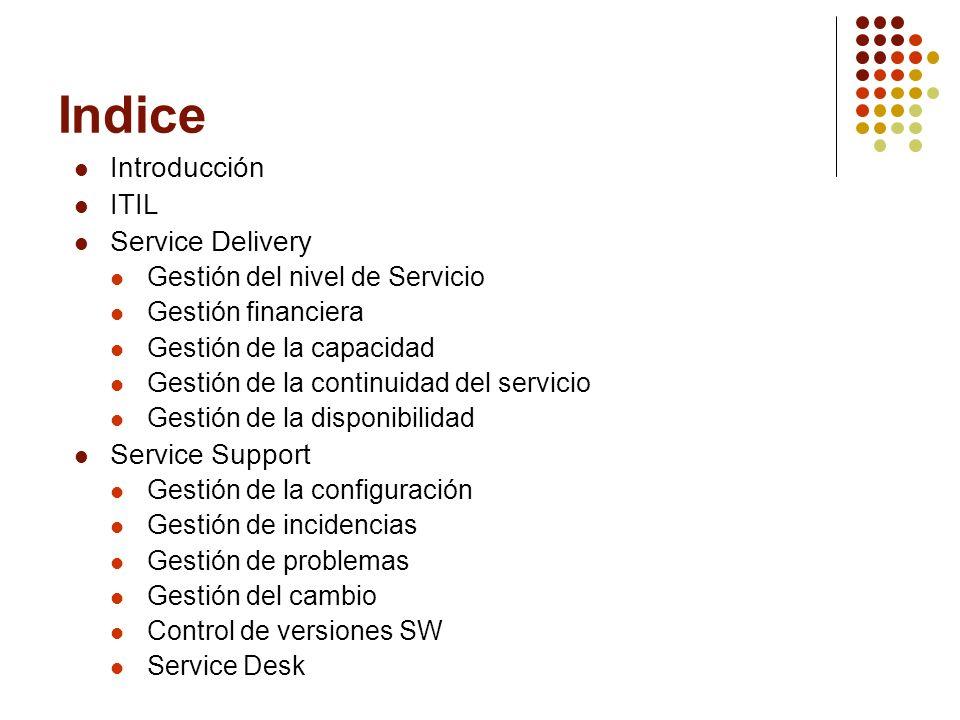 Indice Introducción ITIL Service Delivery Gestión del nivel de Servicio Gestión financiera Gestión de la capacidad Gestión de la continuidad del servicio Gestión de la disponibilidad Service Support Gestión de la configuración Gestión de incidencias Gestión de problemas Gestión del cambio Control de versiones SW Service Desk