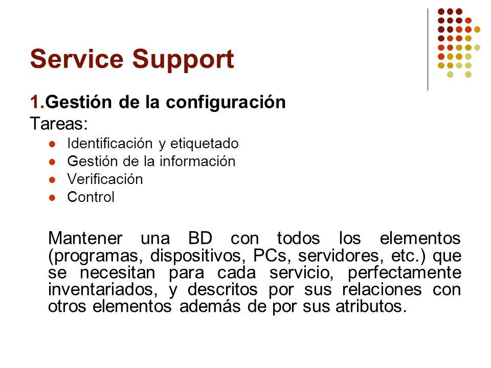 Service Support 1.Gestión de la configuración Tareas: Identificación y etiquetado Gestión de la información Verificación Control Mantener una BD con t