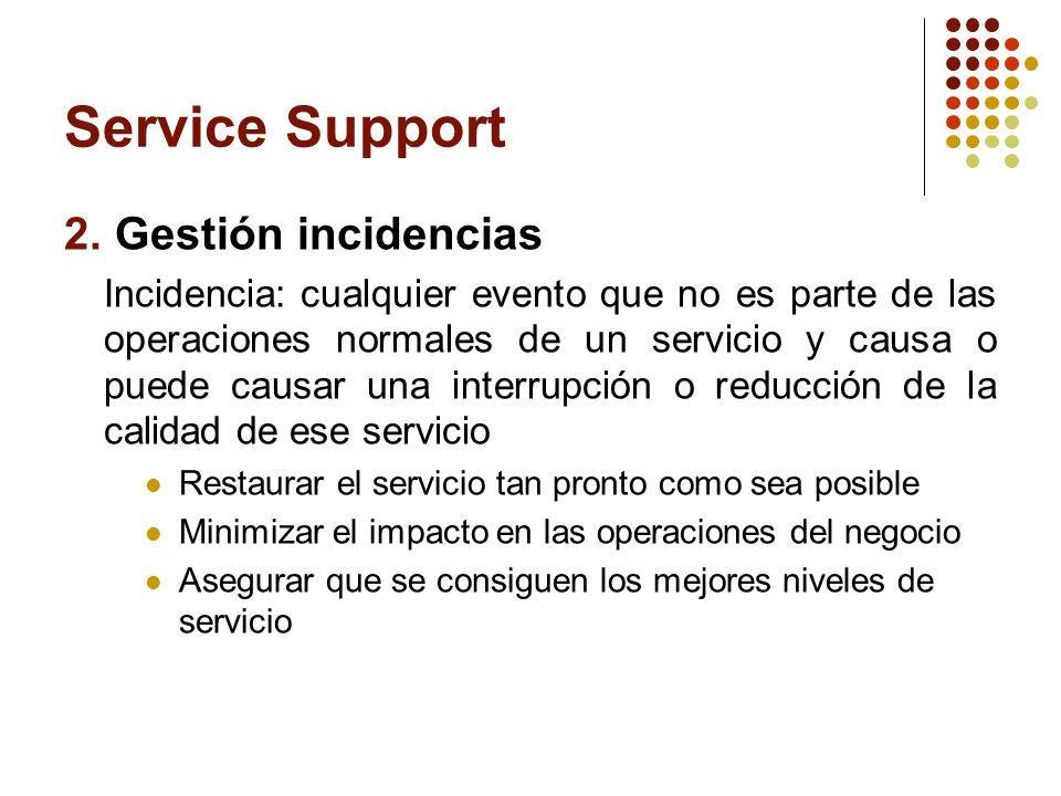 Service Support 2. Gestión incidencias Incidencia: cualquier evento que no es parte de las operaciones normales de un servicio y causa o puede causar