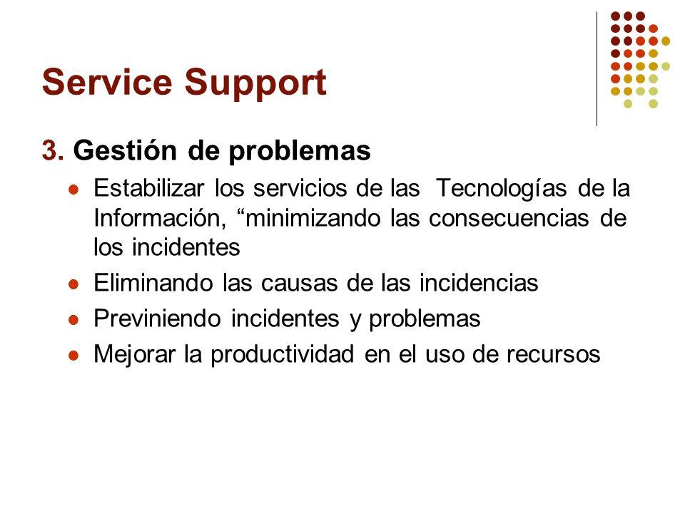 Service Support 3. Gestión de problemas Estabilizar los servicios de las Tecnologías de la Información, minimizando las consecuencias de los incidente