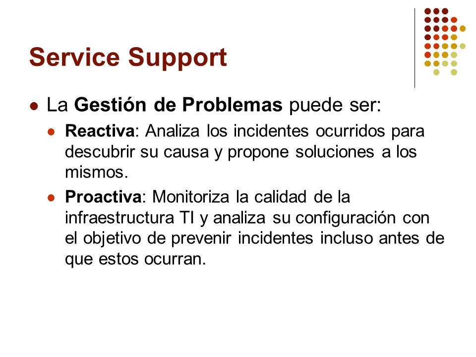 La Gestión de Problemas puede ser: Reactiva: Analiza los incidentes ocurridos para descubrir su causa y propone soluciones a los mismos. Proactiva: Mo