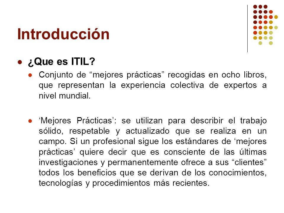 Introducción ¿Que es ITIL? Conjunto de mejores prácticas recogidas en ocho libros, que representan la experiencia colectiva de expertos a nivel mundia
