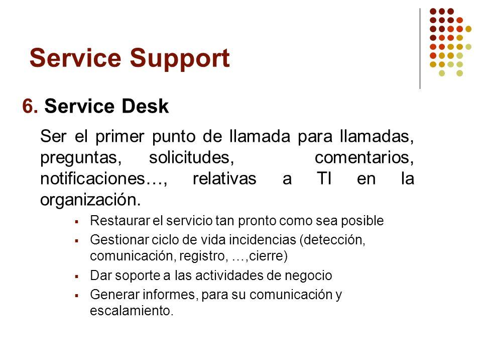 6. Service Desk Ser el primer punto de llamada para llamadas, preguntas, solicitudes, comentarios, notificaciones…, relativas a TI en la organización.