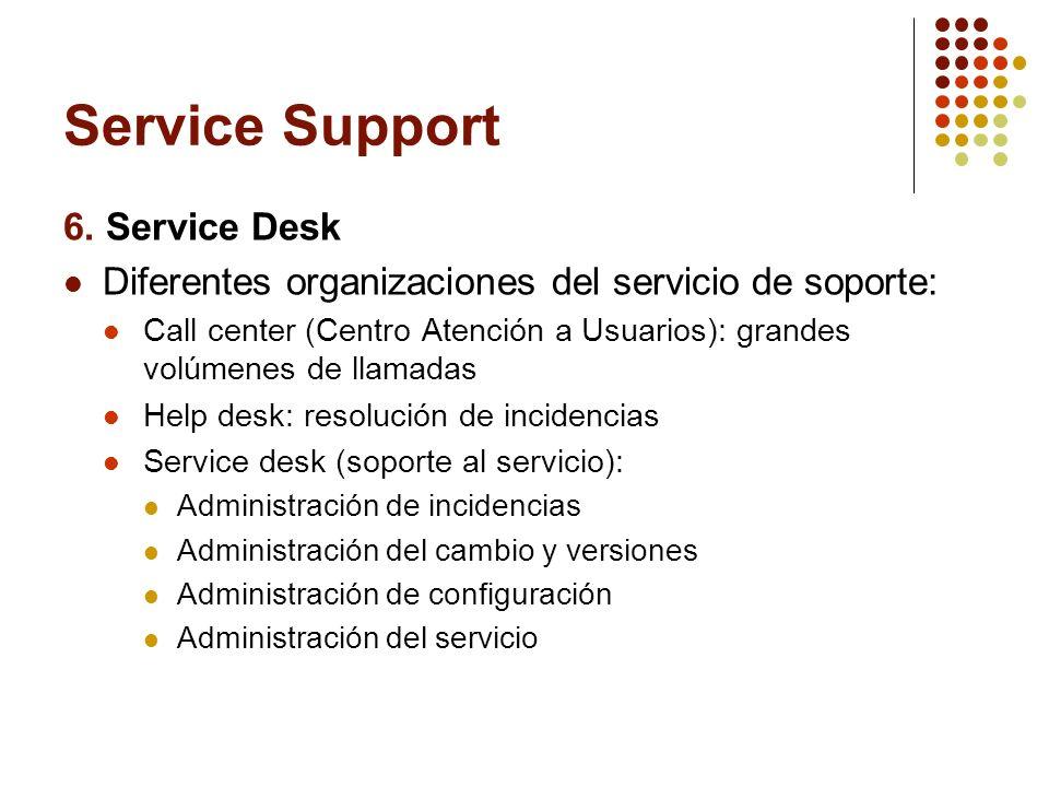 Service Support 6. Service Desk Diferentes organizaciones del servicio de soporte: Call center (Centro Atención a Usuarios): grandes volúmenes de llam