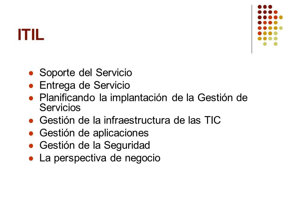 Soporte del Servicio Entrega de Servicio Planificando la implantación de la Gestión de Servicios Gestión de la infraestructura de las TIC Gestión de a