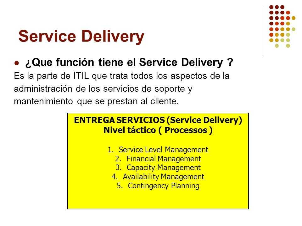 Service Delivery ¿Que función tiene el Service Delivery ? Es la parte de ITIL que trata todos los aspectos de la administración de los servicios de so