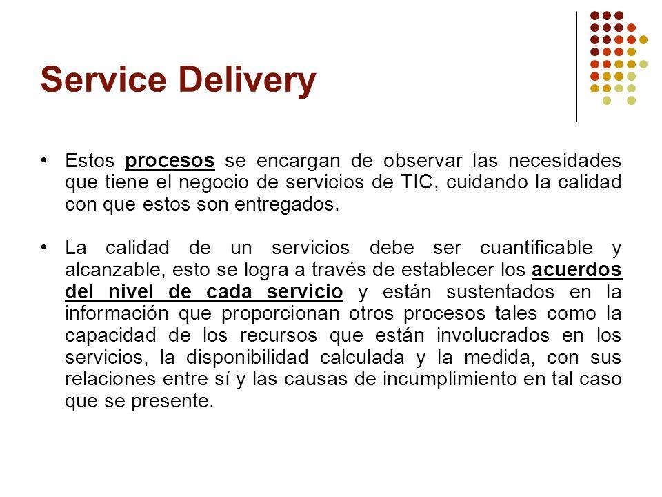 Service Delivery Alinear los servicios TI con las necesidades actuales y futuras de los clientes.