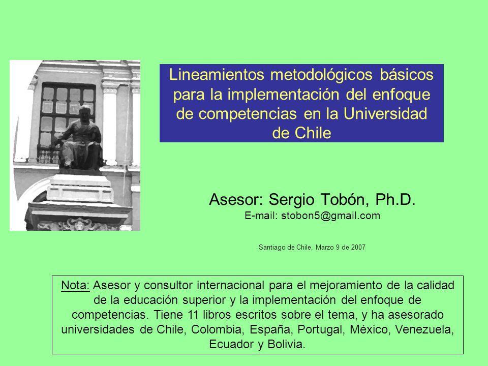 Lineamientos metodológicos básicos para la implementación del enfoque de competencias en la Universidad de Chile Asesor: Sergio Tobón, Ph.D.