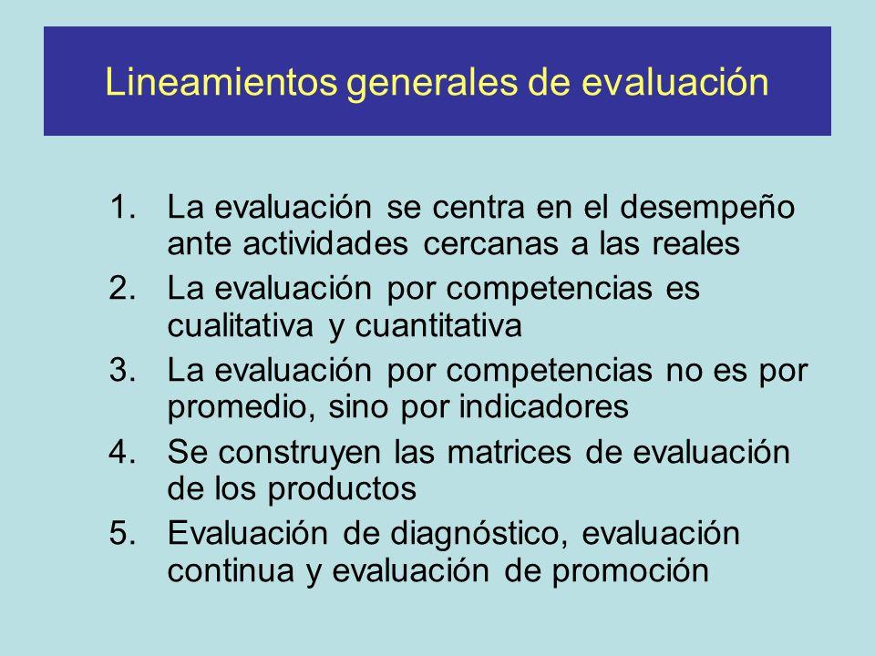 Lineamientos generales de evaluación 1.La evaluación se centra en el desempeño ante actividades cercanas a las reales 2.La evaluación por competencias es cualitativa y cuantitativa 3.La evaluación por competencias no es por promedio, sino por indicadores 4.Se construyen las matrices de evaluación de los productos 5.Evaluación de diagnóstico, evaluación continua y evaluación de promoción