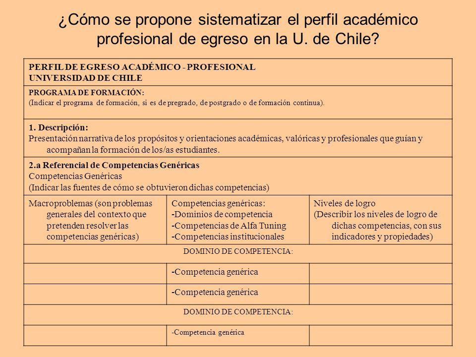 ¿Cómo se propone sistematizar el perfil académico profesional de egreso en la U.