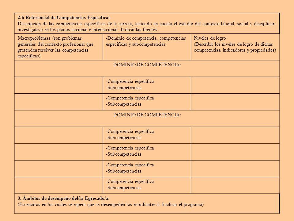 2.b Referencial de Competencias Específicas Descripción de las competencias específicas de la carrera, teniendo en cuenta el estudio del contexto laboral, social y disciplinar- investigativo en los planos nacional e internacional.
