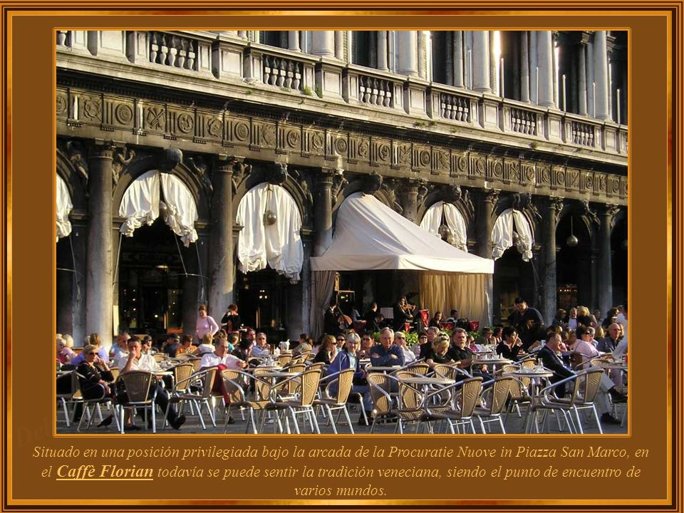 Situado en una posición privilegiada bajo la arcada de la Procuratie Nuove in Piazza San Marco, en el Caffè Florian todavía se puede sentir la tradición veneciana, siendo el punto de encuentro de varios mundos.