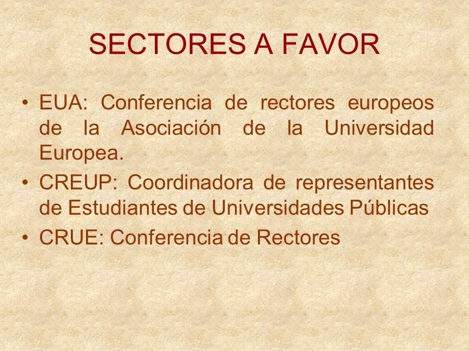 SECTORES A FAVOR EUA: Conferencia de rectores europeos de la Asociación de la Universidad Europea.