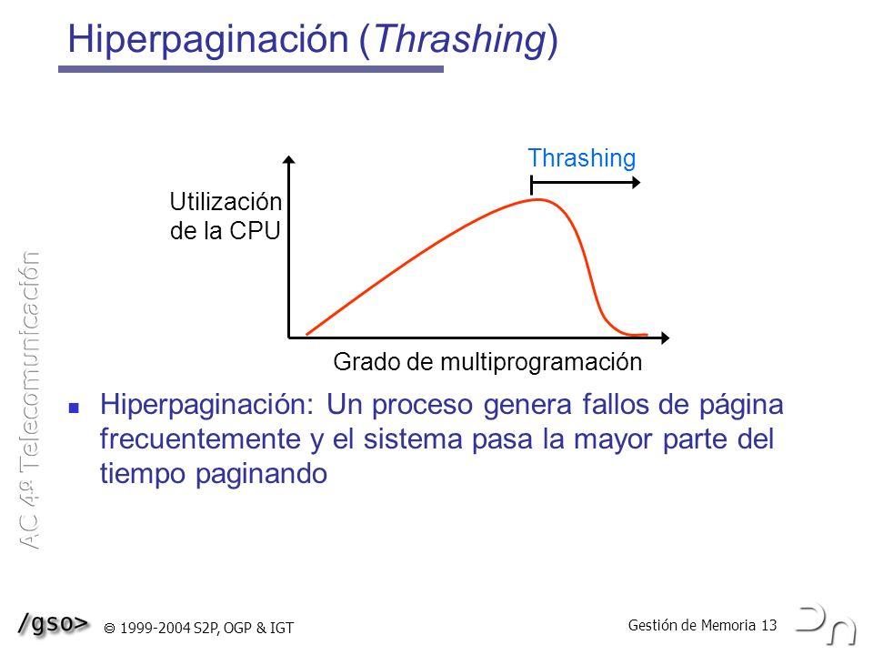 Gestión de Memoria 13 1999-2004 S2P, OGP & IGT Hiperpaginación (Thrashing) Hiperpaginación: Un proceso genera fallos de página frecuentemente y el sis