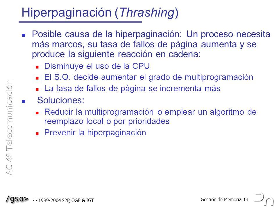 Gestión de Memoria 14 1999-2004 S2P, OGP & IGT Hiperpaginación (Thrashing) Posible causa de la hiperpaginación: Un proceso necesita más marcos, su tas