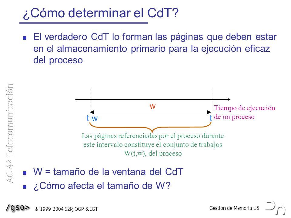Gestión de Memoria 16 1999-2004 S2P, OGP & IGT ¿Cómo determinar el CdT? El verdadero CdT lo forman las páginas que deben estar en el almacenamiento pr