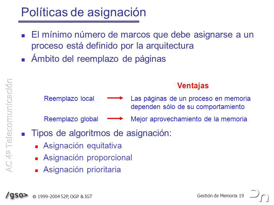 Gestión de Memoria 19 1999-2004 S2P, OGP & IGT Políticas de asignación El mínimo número de marcos que debe asignarse a un proceso está definido por la