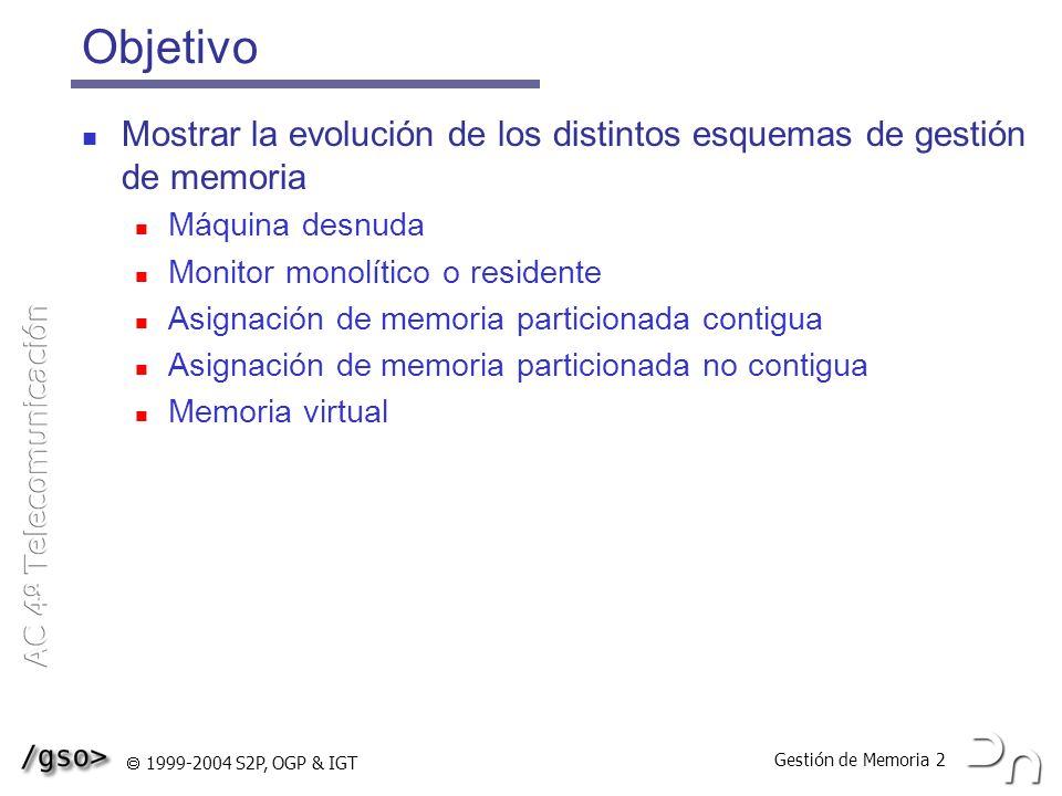 Gestión de Memoria 3 1999-2004 S2P, OGP & IGT Máquina desnuda Es la manera más sencilla de gestionar la memoria: no existe ningún gestor El usuario controla toda la memoria El sistema no porporciona ningún servicio Usuario Memoria