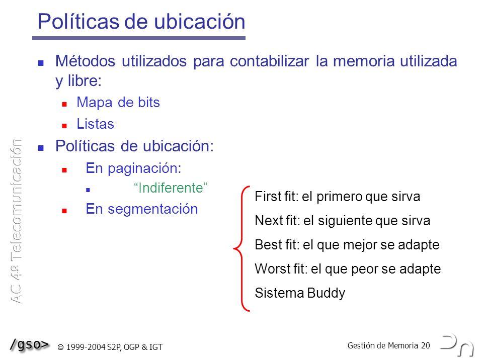 Gestión de Memoria 20 1999-2004 S2P, OGP & IGT Políticas de ubicación Métodos utilizados para contabilizar la memoria utilizada y libre: Mapa de bits