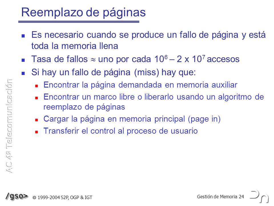 Gestión de Memoria 24 1999-2004 S2P, OGP & IGT Reemplazo de páginas Es necesario cuando se produce un fallo de página y está toda la memoria llena Tas
