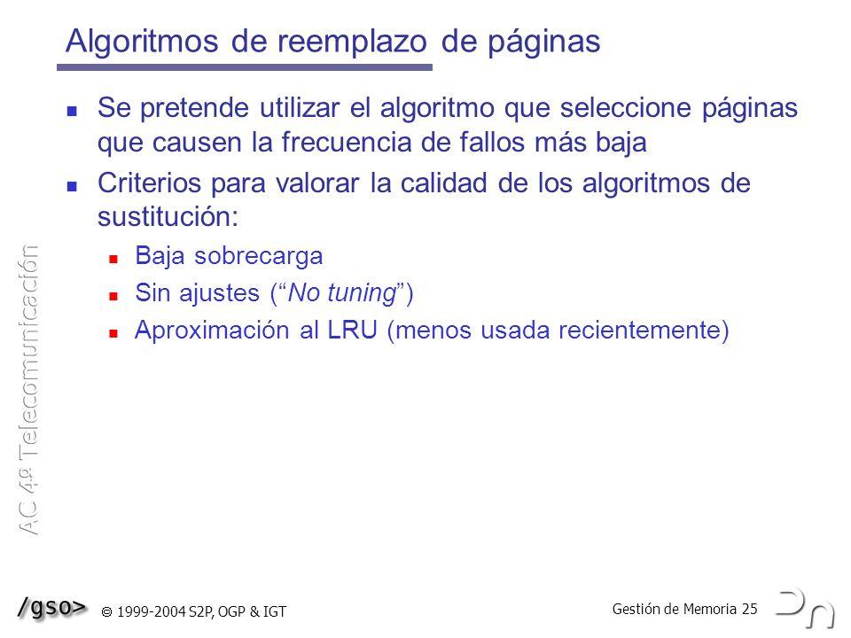 Gestión de Memoria 25 1999-2004 S2P, OGP & IGT Algoritmos de reemplazo de páginas Se pretende utilizar el algoritmo que seleccione páginas que causen