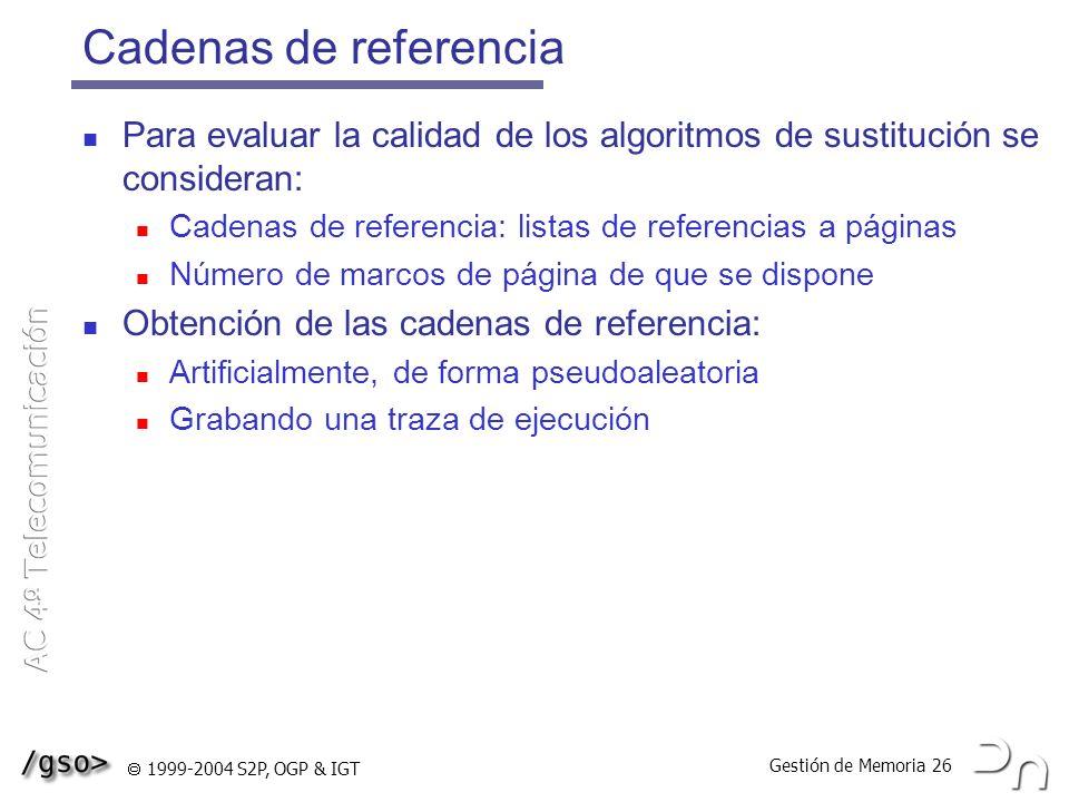 Gestión de Memoria 26 1999-2004 S2P, OGP & IGT Cadenas de referencia Para evaluar la calidad de los algoritmos de sustitución se consideran: Cadenas d