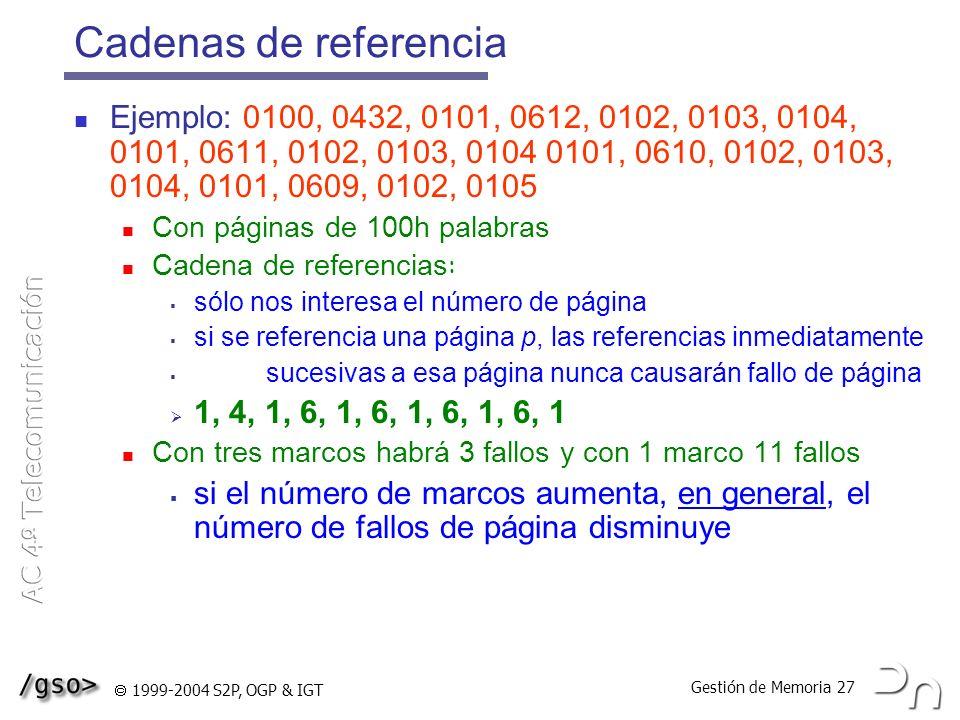 Gestión de Memoria 27 1999-2004 S2P, OGP & IGT Cadenas de referencia Ejemplo: 0100, 0432, 0101, 0612, 0102, 0103, 0104, 0101, 0611, 0102, 0103, 0104 0