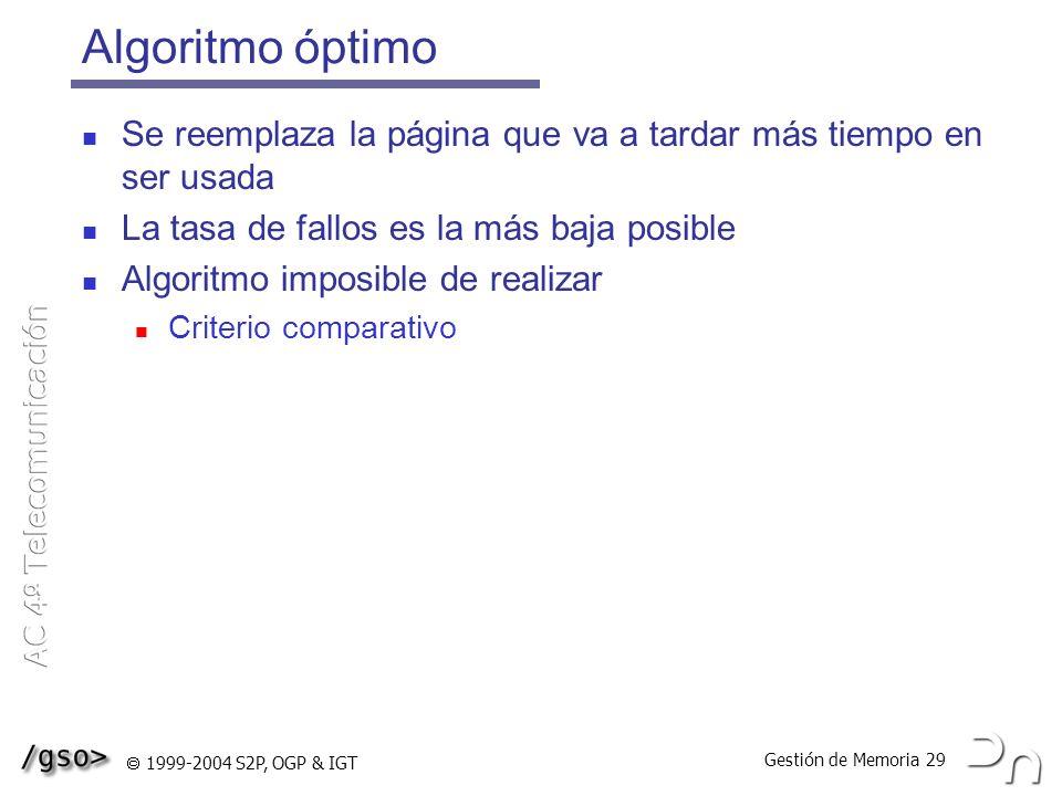 Gestión de Memoria 29 1999-2004 S2P, OGP & IGT Algoritmo óptimo Se reemplaza la página que va a tardar más tiempo en ser usada La tasa de fallos es la