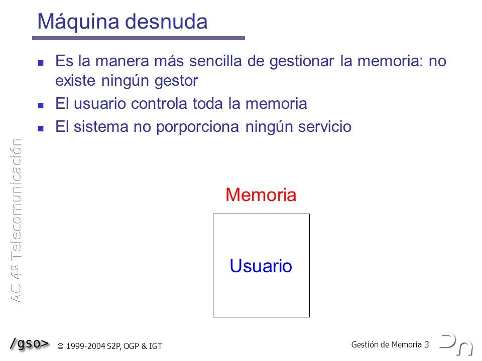 Gestión de Memoria 24 1999-2004 S2P, OGP & IGT Reemplazo de páginas Es necesario cuando se produce un fallo de página y está toda la memoria llena Tasa de fallos uno por cada 10 6 – 2 x 10 7 accesos Si hay un fallo de página (miss) hay que: Encontrar la página demandada en memoria auxiliar Encontrar un marco libre o liberarlo usando un algoritmo de reemplazo de páginas Cargar la página en memoria principal (page in) Transferir el control al proceso de usuario