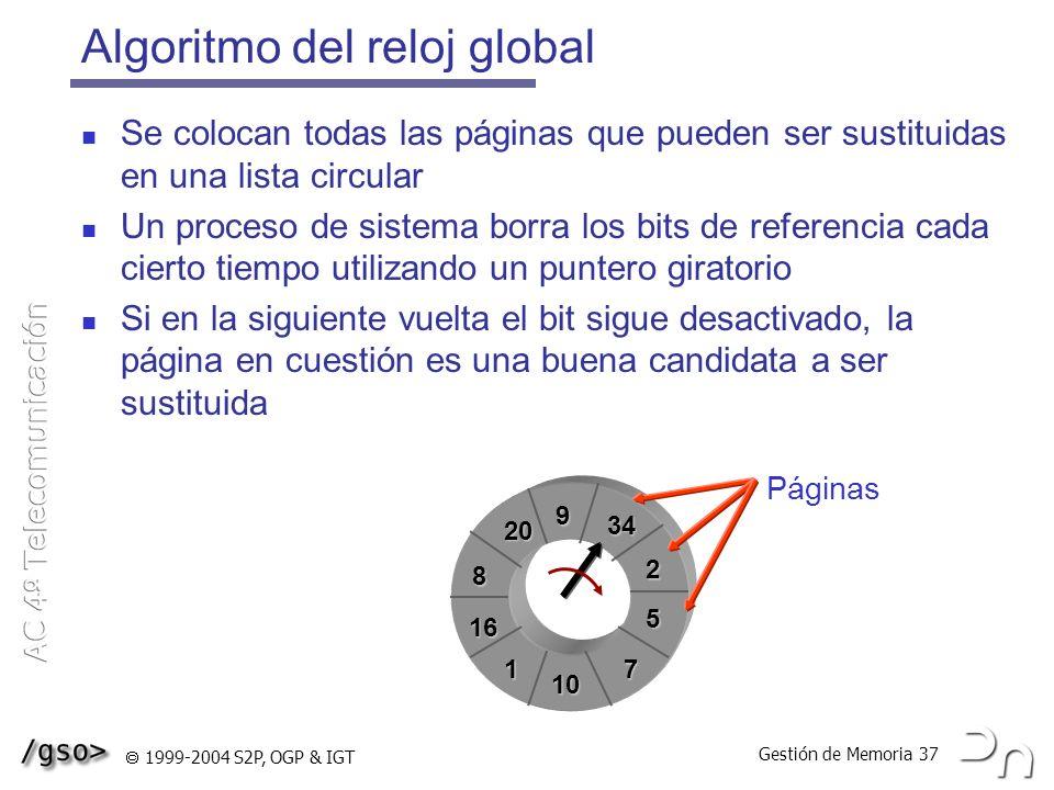 Gestión de Memoria 37 1999-2004 S2P, OGP & IGT Algoritmo del reloj global Se colocan todas las páginas que pueden ser sustituidas en una lista circula