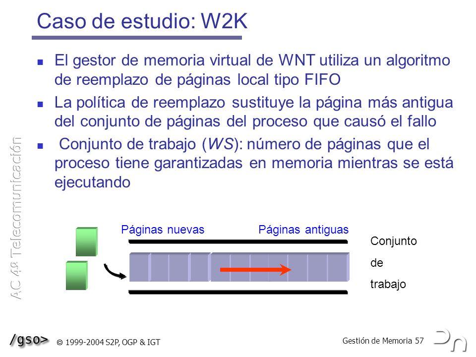 Gestión de Memoria 57 1999-2004 S2P, OGP & IGT Caso de estudio: W2K El gestor de memoria virtual de WNT utiliza un algoritmo de reemplazo de páginas l
