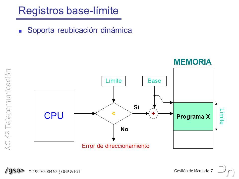 Gestión de Memoria 8 1999-2004 S2P, OGP & IGT Tabla de descripción de particiones Sistema operativo Pi Pj Pk 0K 100K ASIGNADA 100K 300K LIBRE 400K 100K ASIGNADA 500K 250K ASIGNADA 700K 150K ASIGNADA 900K 100K LIBRE 0K 100K 400K 500K 750K 900K 1000K Número Base Tamaño Estado dela de la de la de la partición partición 0 1 2 3 4 5