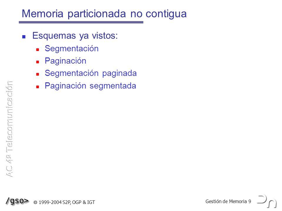 Gestión de Memoria 9 1999-2004 S2P, OGP & IGT Memoria particionada no contigua Esquemas ya vistos: Segmentación Paginación Segmentación paginada Pagin